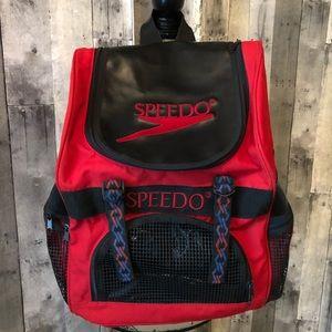 Vintage Speedo Red Backpack Vented Pockets Retro